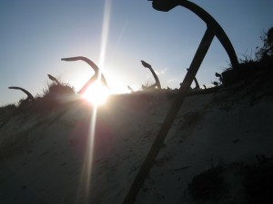 "The ""anchor graveyard"" at nearby Barril beach"
